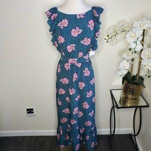 Spirit Of Grace Flutter Sleeve Maxi Dress Floral